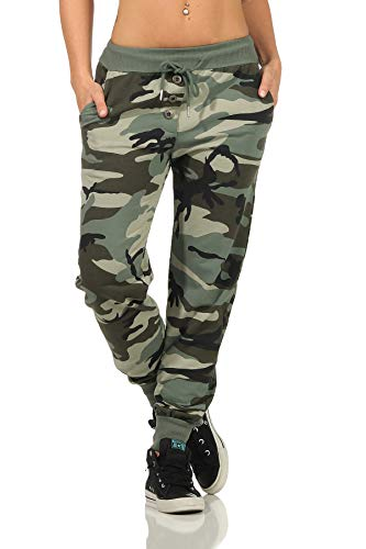 Danaest Damen Sporthose Camouflage (499) (XL, Army)
