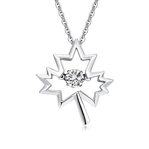Silber Kette Damen Blatt Anhänger Halskette Mädchen mit Zirkonia Halskette tanzen Diamantkette Silber Geschenk für Damen, Mädchen jiamiaoi