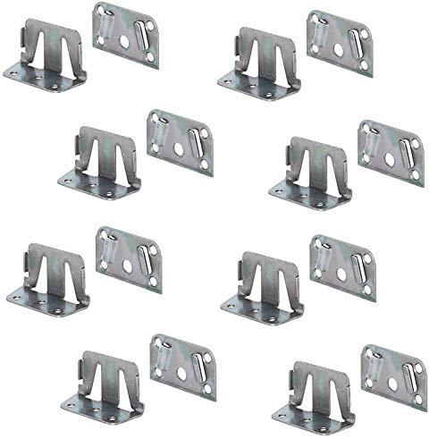 Gedotec Bettverbinder Metall Bett-Winkel für Bettkonstruktionen - Holz-Mittelbalken & Lattenrost   Bettsockel-Verbinder zum Einhängen   Bettbeschlag Stahl verzinkt   8 Set - Einhängebeschlag