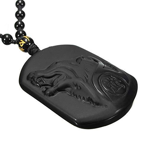 BlackAmazement Collana con ciondolo in pietra naturale ossidiana lupo nero uomo donna biker