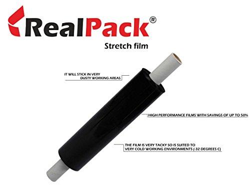Realpack® 1 x schwarze ausgezogene Packfolie, für Paketverpackungen, 400 mm x 300 m, ideal für schnelle Lieferung