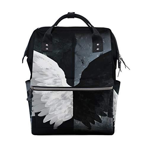 MALPLENA Mochila de Viaje con alas de ángel en Blanco y Negro