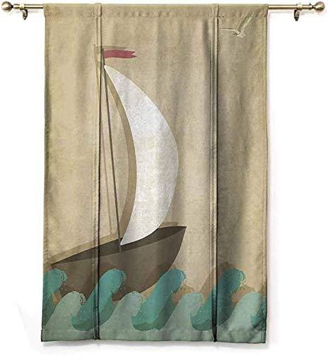 Geïsoleerde zonnescherm Romeinse gordijnen zeilboot op golven meeuwen boot nautische mariene decor voor oceaanliefhebbers privacybescherming, W122 X H183 CM/48X72 Inch