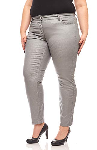 Ashley Brooke metallic Hose Röhrenjeans Große Größen Jeans Silbergrau, Größenauswahl:44