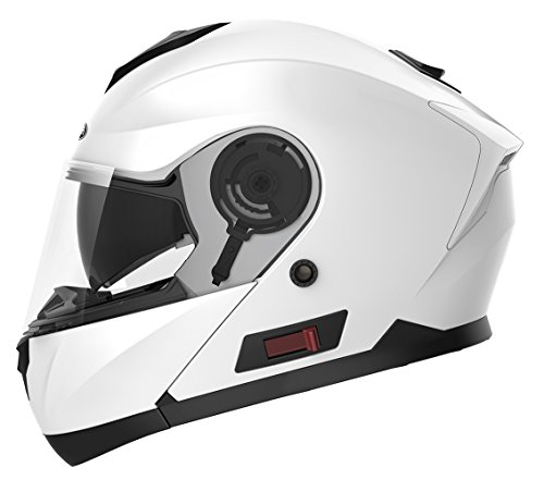 Motorcycle Modular Full Face Helmet DOT Approved - YEMA YM-926 Motorbike Moped Street Bike Racing Flip-up Helmet with Sun Visor Bluetooth Space for Adult,Youth Men and Women - White,S