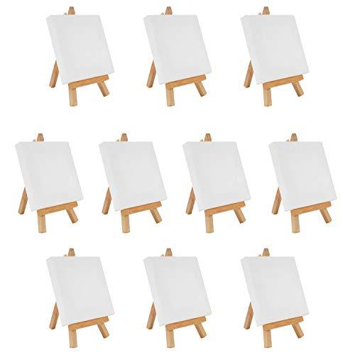 Belle Vous Mini Lienzos con Caballete de Madera (Pack de 10) 10 x 10 cm Lienzos Preestirados e Imprimados en Blanco Caballete...