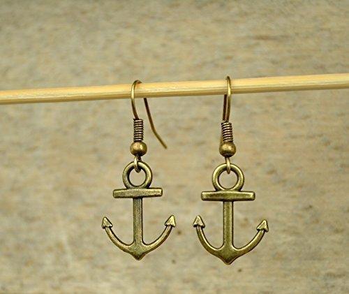 Ohrringe mit Anker bronze maritime Ohrringe Wolkenfabrik Schmuck handmade einzigartig Messing nickelfrei