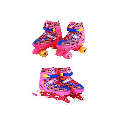 Jugendliche Inlineskates,PE schlagfestes Material Schuhschale Kinder Skate Schuhe mit leuchtenden Rollen Rollschuhe für Kinder, Jungen, Mädchen, Rose red In-line + Double Wheel Set- M (Code 33-37)