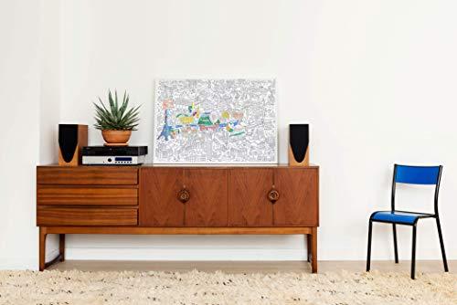 OMY - Poster Géant à Colorier Paris - 100 cm x 70 cm - Encadrable - Immense carte de Paris Originale et Amusante - Papier Extra-Blanc Qualité Supérieure 120 g/m² - Conçu et Fabriqué en France