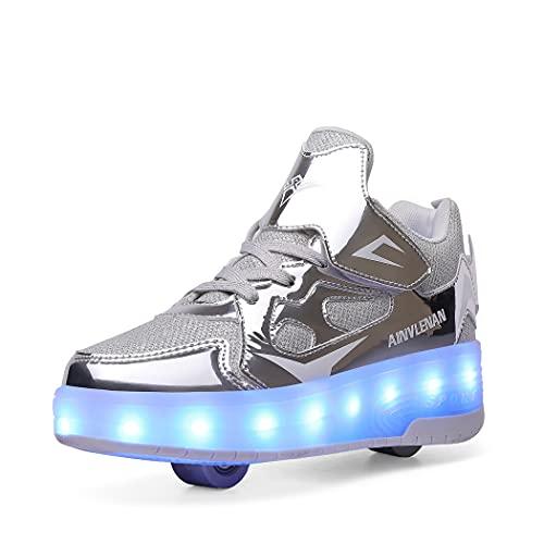 Citoou Zapatillas de patinaje con LED para niños y niñas, Plateado 1., 32 EU
