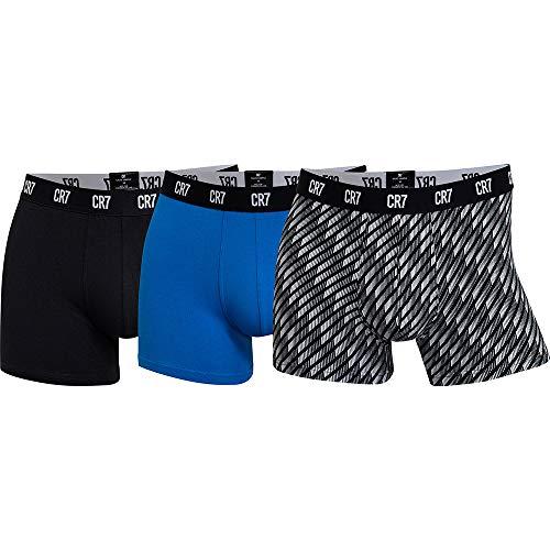 CR7 Cristiano Ronaldo Herren hautenge Boxershorts 3er Pack, 1x Schwarz + 1x Blau + 1x Schwarz Design,  Gr. - L