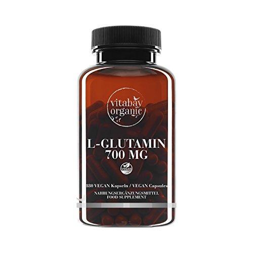 L-Glutamin 700 mg - 180 vegane Kapseln - freie Form, Reinsubstanz, frei von Zusatzstoffen, vegan