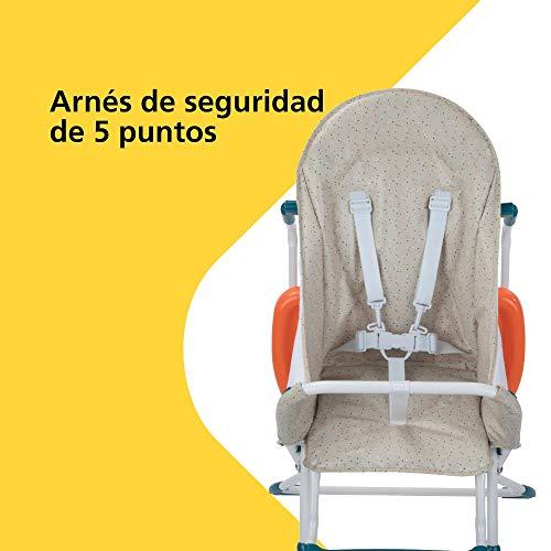 Safety 1st Kanji Trona para bebé Plegable, Compacta y Ajustable, trona bebé con cojín por niños 6 meses - 3 años, Color Happy Day