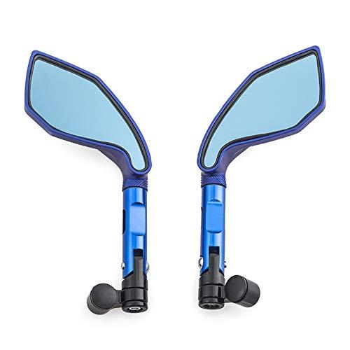 Specchietto Retrovisore Moto Universale Specchietti Laterali Moto CNC Per YAMAHA Ys 150 Tmax 530 Tdm 850 Fz6n Mt10 C8 Nmax 155 Fazer8 Ecc. (Colore : Blu)