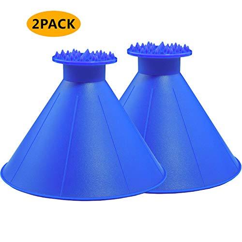 Magical Car Ice Scraper with Funnel,2 Pack Cone Windshield Ice Scrapers,Round Snow Scraper for Car(Blue)