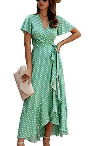 Spec4Y Dam Boho långa klänningar V-ringad sommarklänningar kortärmad omlottklänning maxiklänning strandklänning med smal, 032grön, L