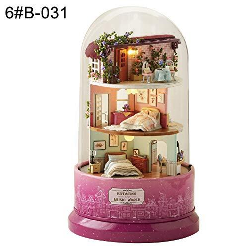 periwinkLuQ DIY Puppenhaus Miniatur Haus Spielzeug Drehen Spieluhr mit Staubschutz Geschenk für das Festival 6#