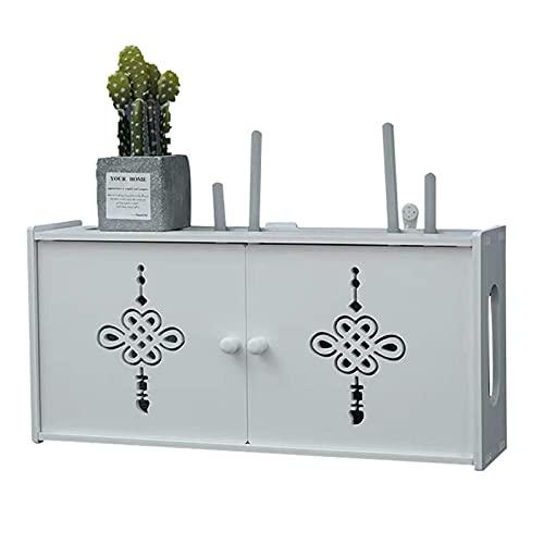 XLBHSH Wireless Router Storage Shelf Wall-mounted Wifi Router Storage Box Socket Shielding Wire Finishing Wire Box,White,76 * 12 * 24cm