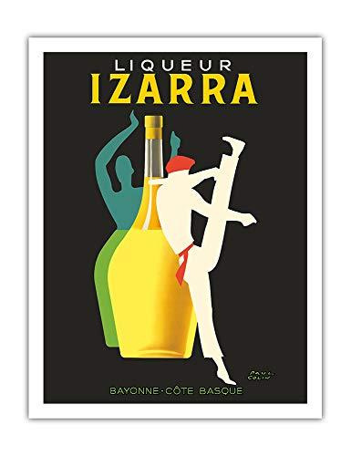 Pacifica Island Art - Licor Izarra - Bayona, País Vasco - Bailarina Gerriko - Póster publicitario de Paul Colin c.1948 - Impresión de Arte - 51 x 66 cm