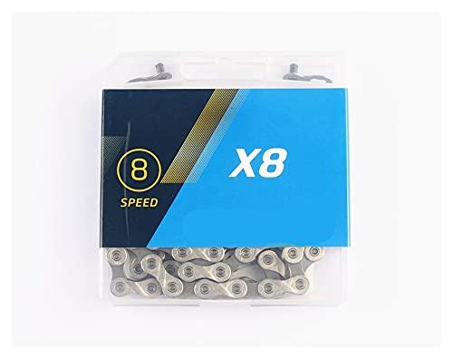 KXLBHJXB Cadena De 8 Velocidades X8 X8.93 Light Double X Mountain Road Bike Chain Titanio Plata