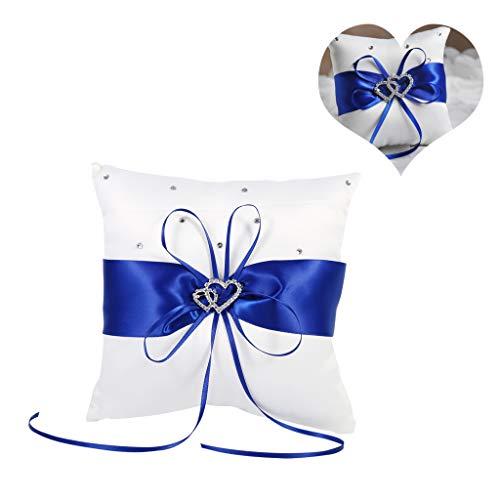 Cafopgrill 4 Farben Hochzeit Ringkissen Bowknot Stain Doppel Herzen Diamanten Hochzeit Ringkissen Inhaber Inhaber Kissen Kissen mit Bowknot(Blau)