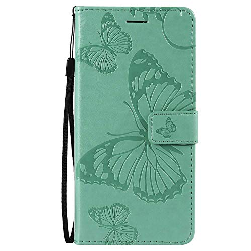 DENDICO Hülle für Galaxy A8S, PU Leder Handyhülle Schutzhülle mit Standfunktion & Kartenfach für Samsung Galaxy A8S - Grün