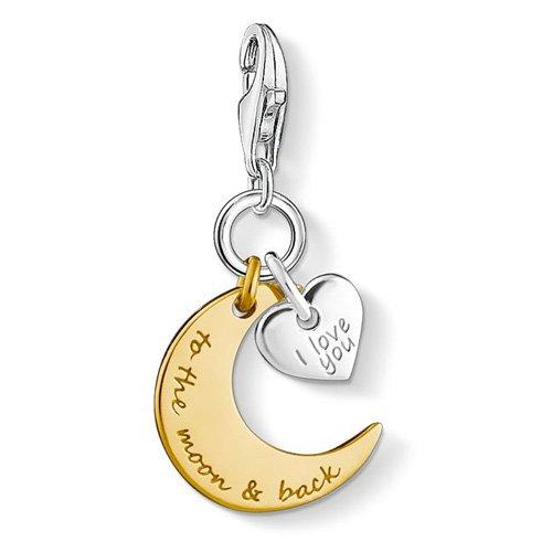 THOMAS SABO Damen Charm-Anhänger I Love You To The Moon & Back Mond Herz Charm Club 925 Sterling Silber 1443-413-39