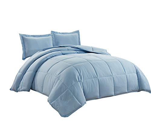3-Piece Down Alternative Comforter Set (Oversized Queen, Chambray Blue)