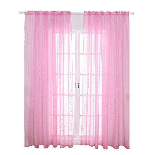 VOSAREA Voile Fenstervorhang Romantische Silbersternfolie Fensterbehandlung Glitzer Sterne Gardinen Panel für Mädchen Kinder Schlafzimmer Wohnzimmer- 100 * 200Cm (Rosa)