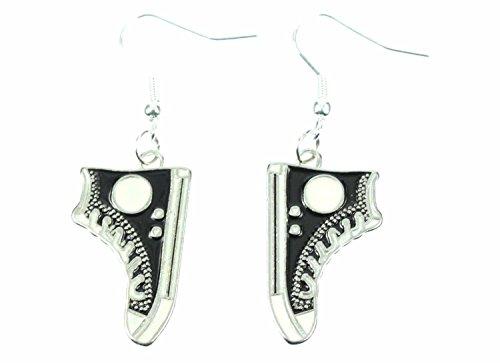 Miniblings Sneakers Ohrringe Schuhe Turnschuhe Skater Schuhe flach schwz - Handmade Modeschmuck I Ohrhänger Ohrschmuck versilbert