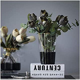 cyl home Vases Clear Glass Flower Arrangement Vase with Half Black Decor Golden Rim Table Centerpieces Modern Contemporary Trumpet Shape Accent for Dining Living Room Wedding Gift, 7.9`` H x 4.7`` D