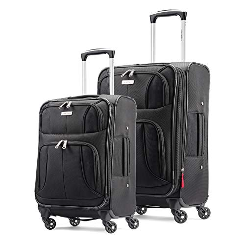 Samsonite Aspire Xlite Softside Expandable Luggage with Spinner Wheels, Black, 2-Piece Set (20/25)
