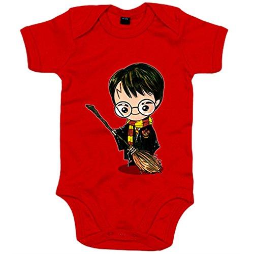 Body bebé Chibi Kawaii Harry Potter con escoba voladora parodia - Rojo, 6-12 meses