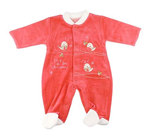 Feestelijke Mijn 1e Kerstmis Winter Baby Meisjes Jongens Romper Sleeper Alle in Een Rode Muziek Notities Vogels Outfit