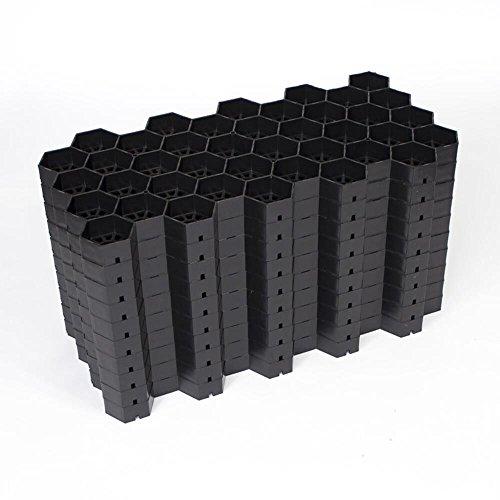 EASYGRAVEL Kiesgitter Bodenwabe Kiesstabilisierung Schwarz Pakett 3,74m² befahrbar von PKW und LKW, Kieswaben