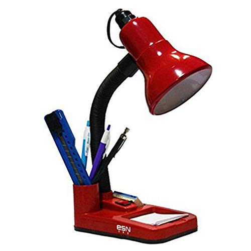 ESN 999 Flexible Red Electric Table Lamp with Attached Pen Stand for Office and Study (Red)
