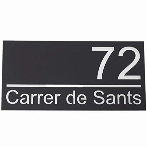 Número de casa de acrílico mate excepcional -30x15cm - Placa de letrero de puerta moderna con aspecto flotante y con separador de aluminio