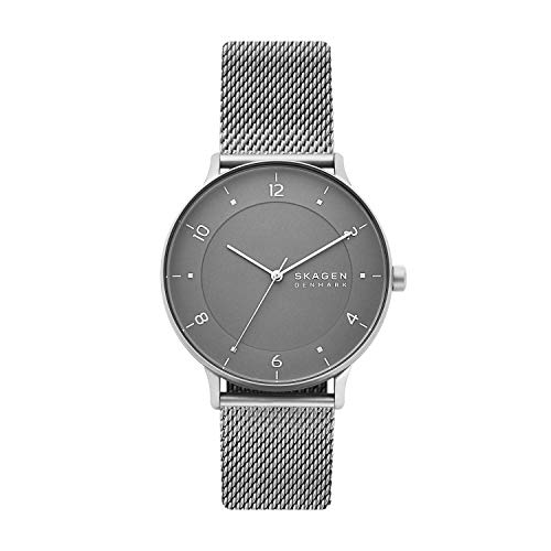 Skagen Men's RIIS Quartz Analog Stainless Steel and Stainless Steel Watch, Color: Silver (Model:...