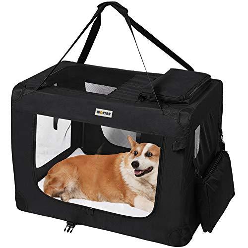 MC Star leichte hundetransportbox faltbar Hundebox M 60cm transportbox Hunde Auto mit Fleece-Matte, Hundekäfig Hundetasche Transporttasche für Haustier Stoff Oxford Schwarz