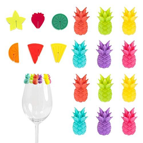 MHwan Glasmarkierer Party Weinglas, Teebeutel Halter Silikon, Wiederverwendbare Weinglasmarker Silikonfruchtzauber Thema Getränkemarker für Partydekorationen Heimgebrauch, 18 Stück