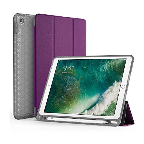 SWEES Compatible for iPad 9.7 2018/2017 Case with Pencil Holder, Shockproof Durable Smart Cover Leather Case with Built-in Pencil Holder Compatible for iPad 9.7 inch 6th/5th Generation, Purple