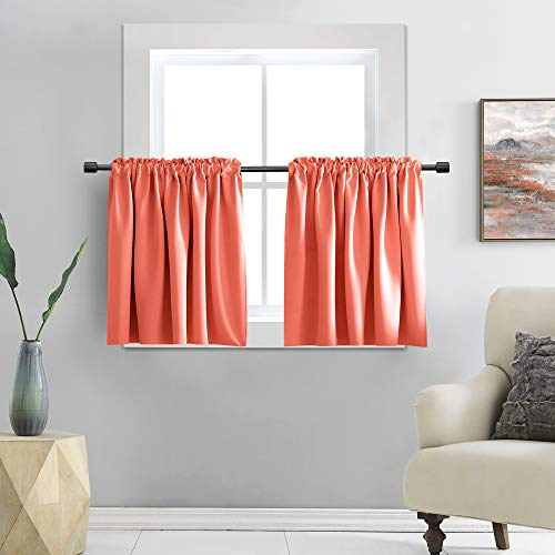 DONREN Room Darkening Half Curtains for Small Windows - Cabinet Curtain Tiers for Kitchen with Rod Pocket (Coral,42 x 30 Inch Length,2 Panels)