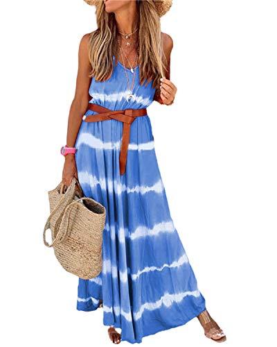 kenoce Sommerkleid Damen Lang Strandkleider Damen Sommer Maxikleider Blau S