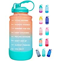 Elvira Half Gallon/64oz Leakproof Motivational Water Bottle with Time Marker & Straw, BPA Free (various colors)