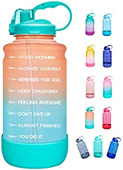 Elvira 64oz Leakproof Motivational Water Bottle with Time Marker & Straw