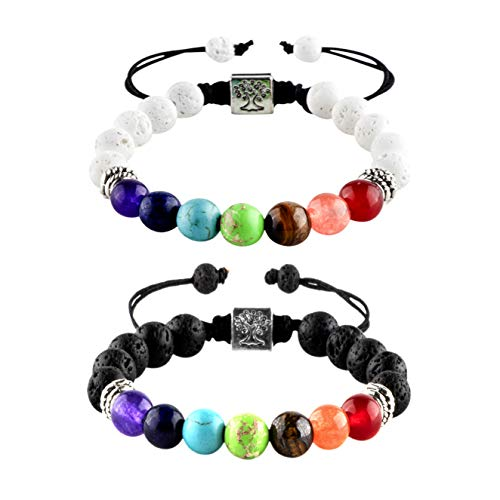 Rivertree 2 PCS Natural Lava Stone Beads Essential Oils Perfume Diffuser Bracelet - Black and White Distance Bracelets for Couples and Best Friend