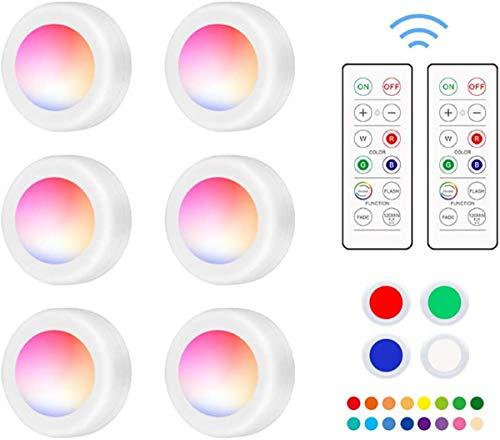 RGB 6er Schrankbeleuchtung swonuk Schrank Lichter LED mit Fernbedienung 16 Farben Schrankleuchten Nachtlicht Unterbauleuchte für Schlafzimmer, Kleiderschrank, Kabinett, Küche