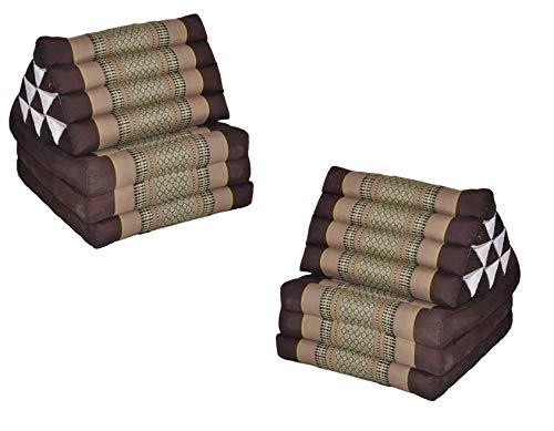 wifash Set de 2 Cojines triangulo tailandés, con colchón Plegable 3 Pliegues, Fabricado en Tailandia, marrón-Beige (2x82403)