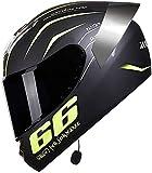 Casco De Moto Abatible Modular con Bluetooth Integrado ECE Homologado para Patinete Electrico Motocicleta Bicicleta Scooter con Viseras Duales Protección Mujer Y Hombre Black 2,L=55-58CM