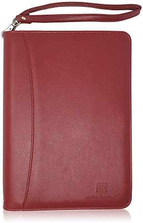 Junior Zippered Business Padfolio with Notepad Burgundy PU Faux Leather A5 Binder Portfolio product image
